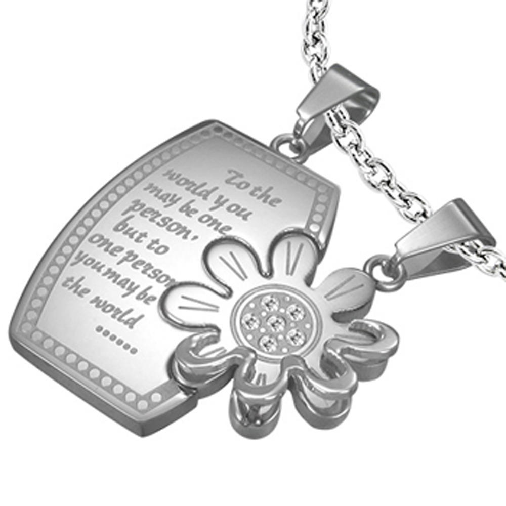 Testimonials Letter Flower Design Stainless Steel Locket Pendant