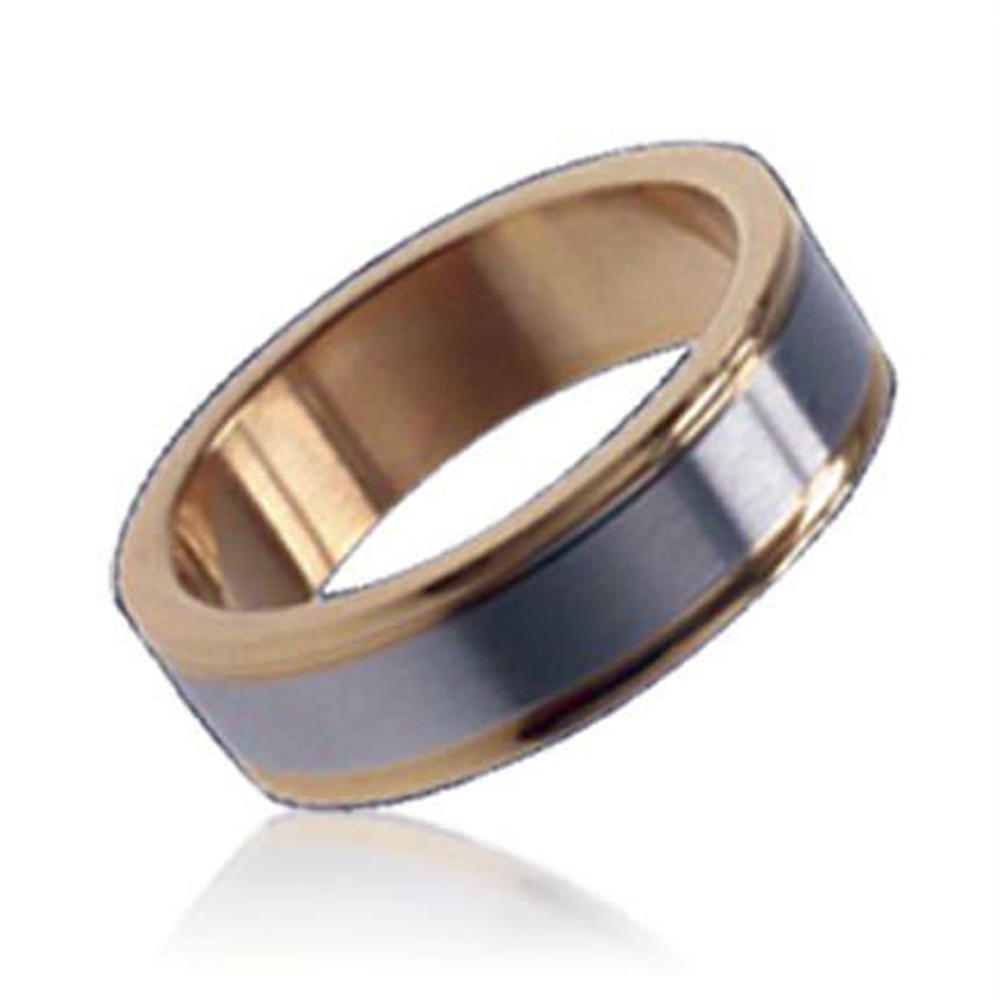 Rose gold color men shiny stainless steel rings wholesale