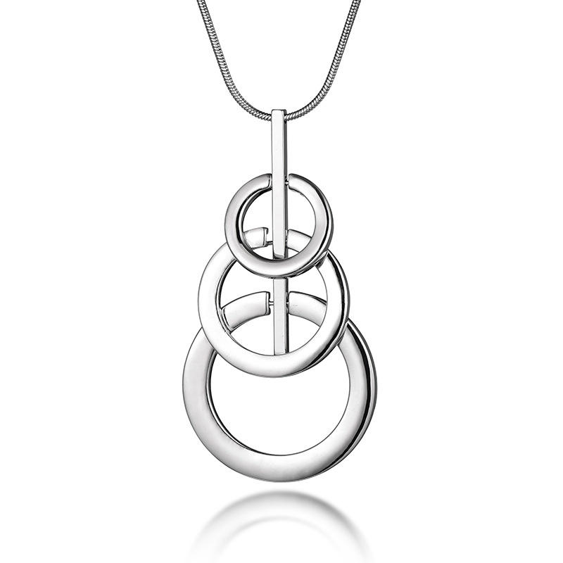 3 Ring Photograph Buckle Sweater Chain Circle Necklace Pendant Jewelry Wholesale