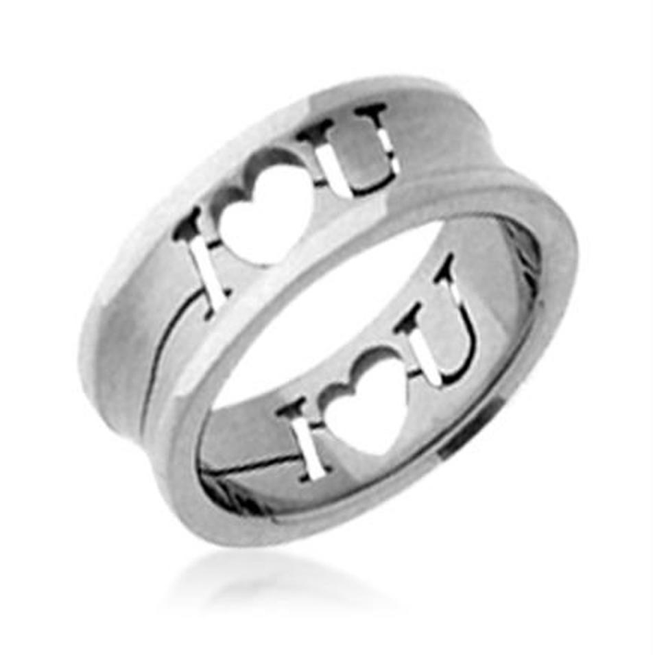 Pure Love Letter Engraved Titanium Stainless Steel Designer Ring Jewellery