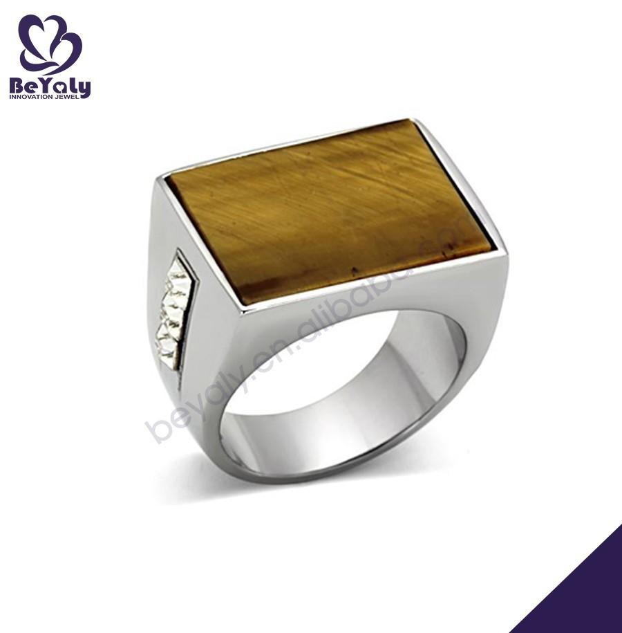 Plain rectangle wooden color stainless steel ring blanks