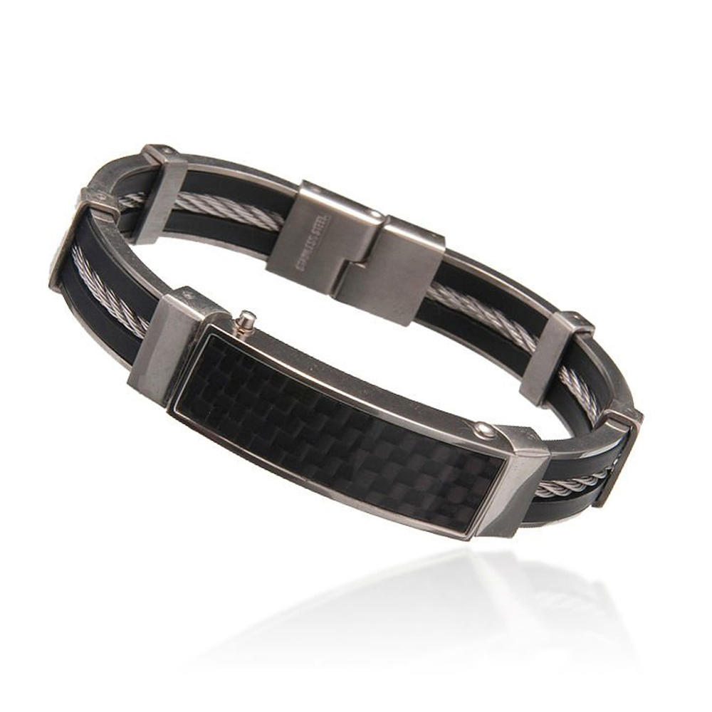 Vintage brown leather magnetic stainless steel bracelet clasp