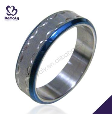 NEW product hot selling jewelry stainless steel wholesale rings with blue enamel lines