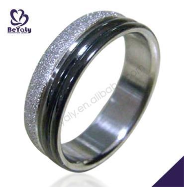 Exquisite half black design stainless steel thumb rings