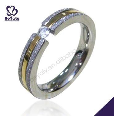 gold Sandblast Finish Couple Lovers Stainless Steel Promise Wedding Ring
