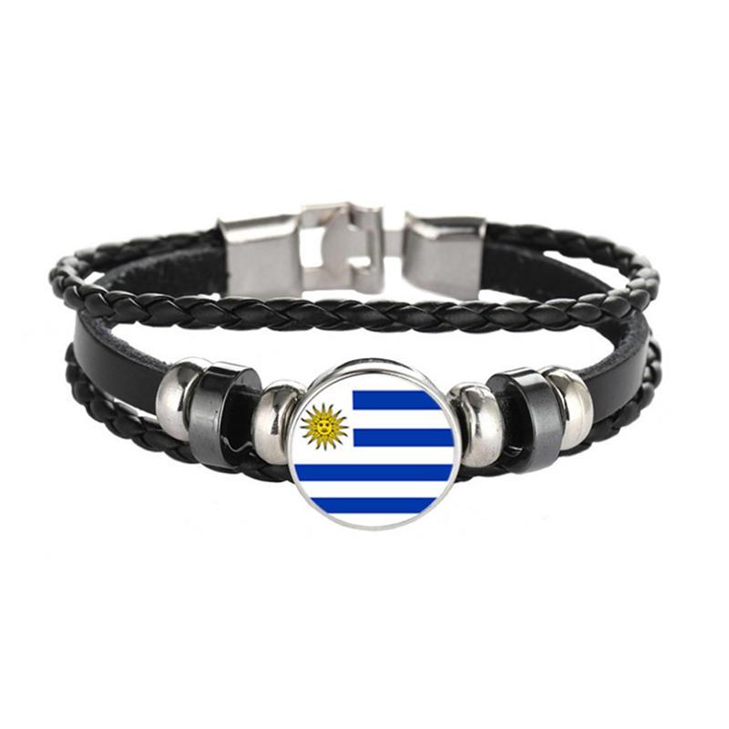 Men New Stainless Steel Ankle Bracelet, Uruguay Flag Bracelet