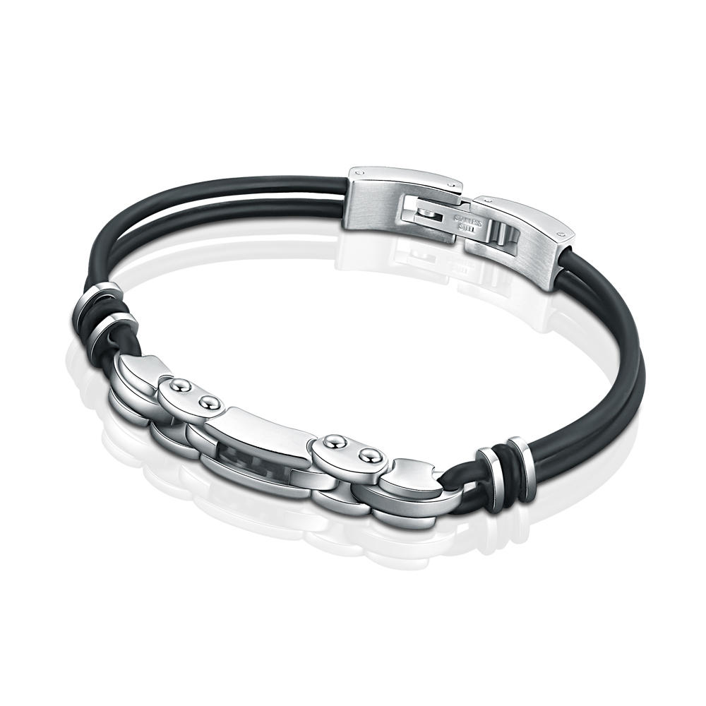 Latest Trends Shiny Hot Sale Leather Bracelet Stainless Steel