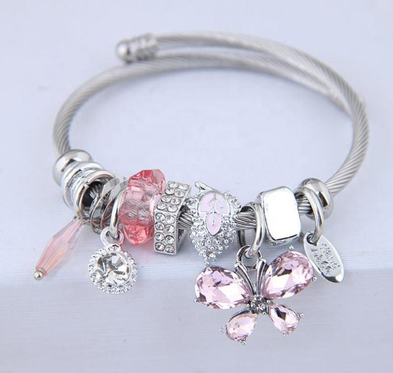 Shiny Wholesale Custom Engraved Butterfly Wrist Band Bracelet