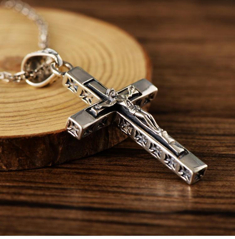 Refined Cross Design Stainless Steel Jesus Head Pendant