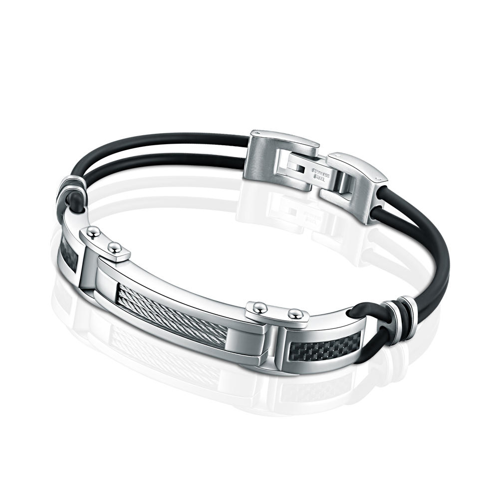 High Quality Black Nylon Rope Stainless Steel Cable Bracelet