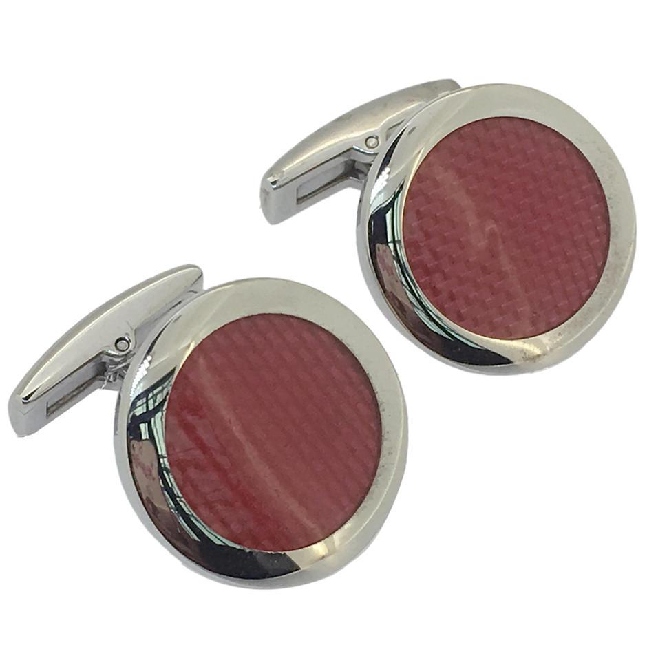 Scarlet enamel round customized father of the bride cufflinks