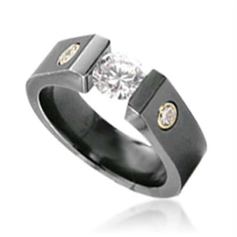 Shiny stone cool stylish black titanium rings for man