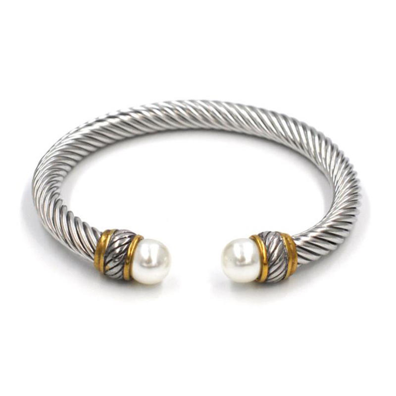 Hot Style Stainless Steel Wire Cable Open Twist Bracelet Punk