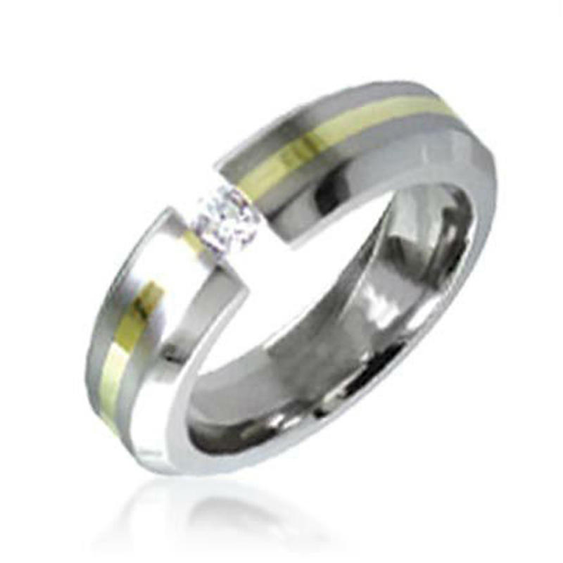 Light Yellow Band Nice Titanium Diamond Ring For Woman