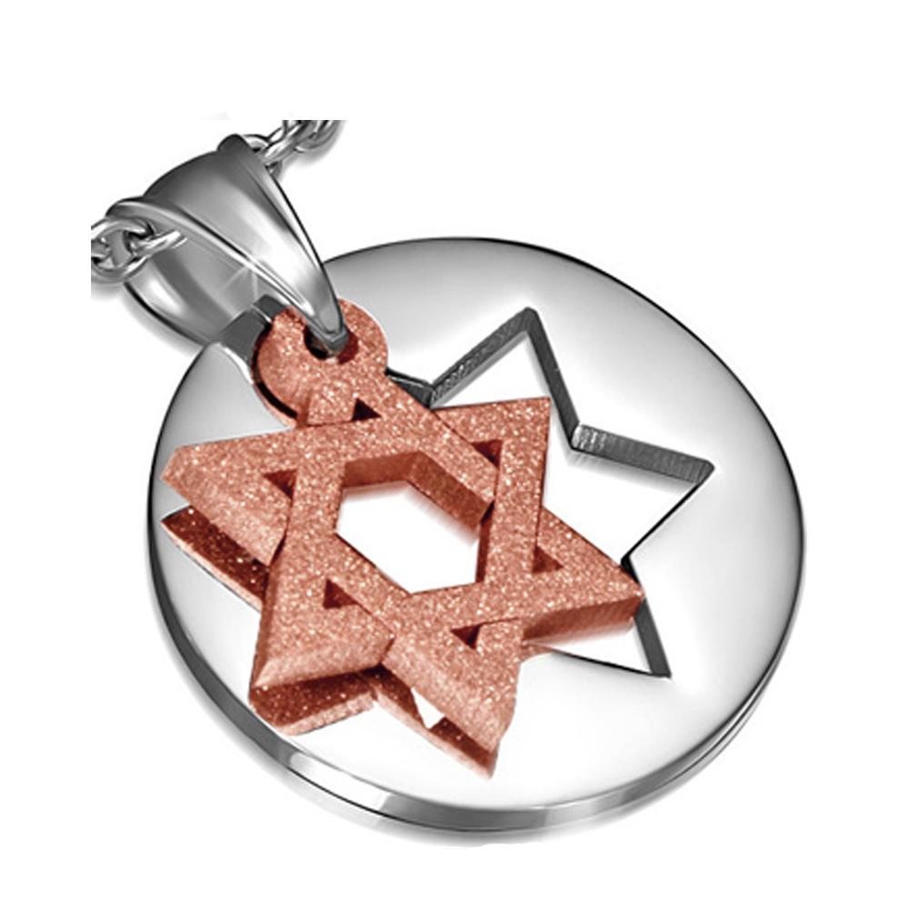 Modern Hexagram Design Round Stainless Steel Gold Sun Jewelry Necklace