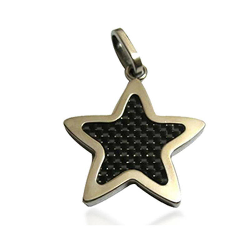 Gold Plating Pentagram Star Figure Carbon Fiber Stainless Steel My Jewelry