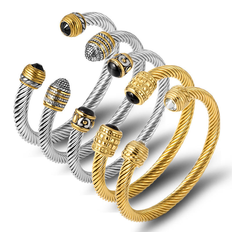 Stainless Steel Wire Bracelet Cable Design, Retro Punk Open Bangle Wholesale