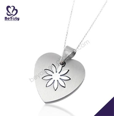 Heart with flower shape easy make stainless steel rope necklace