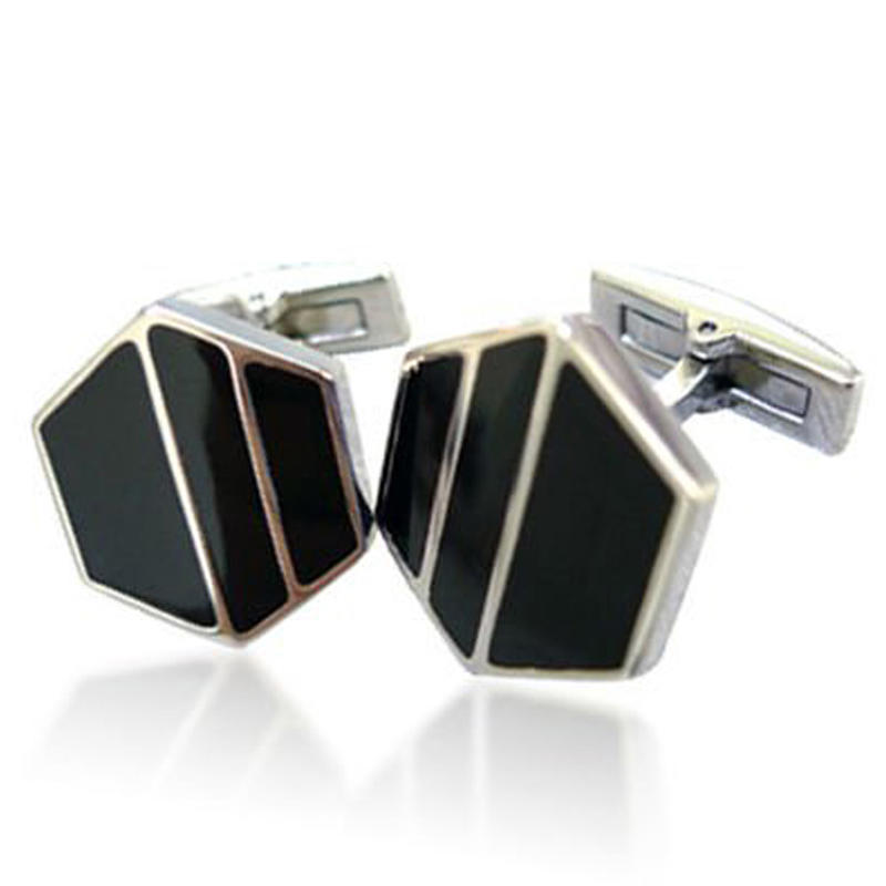 Black ceramic wholesale sexangle branded cufflinks tie clips