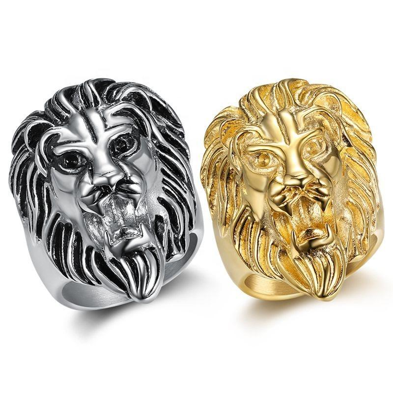 Cheap neat for unisex cool stainless steel lion gold ring