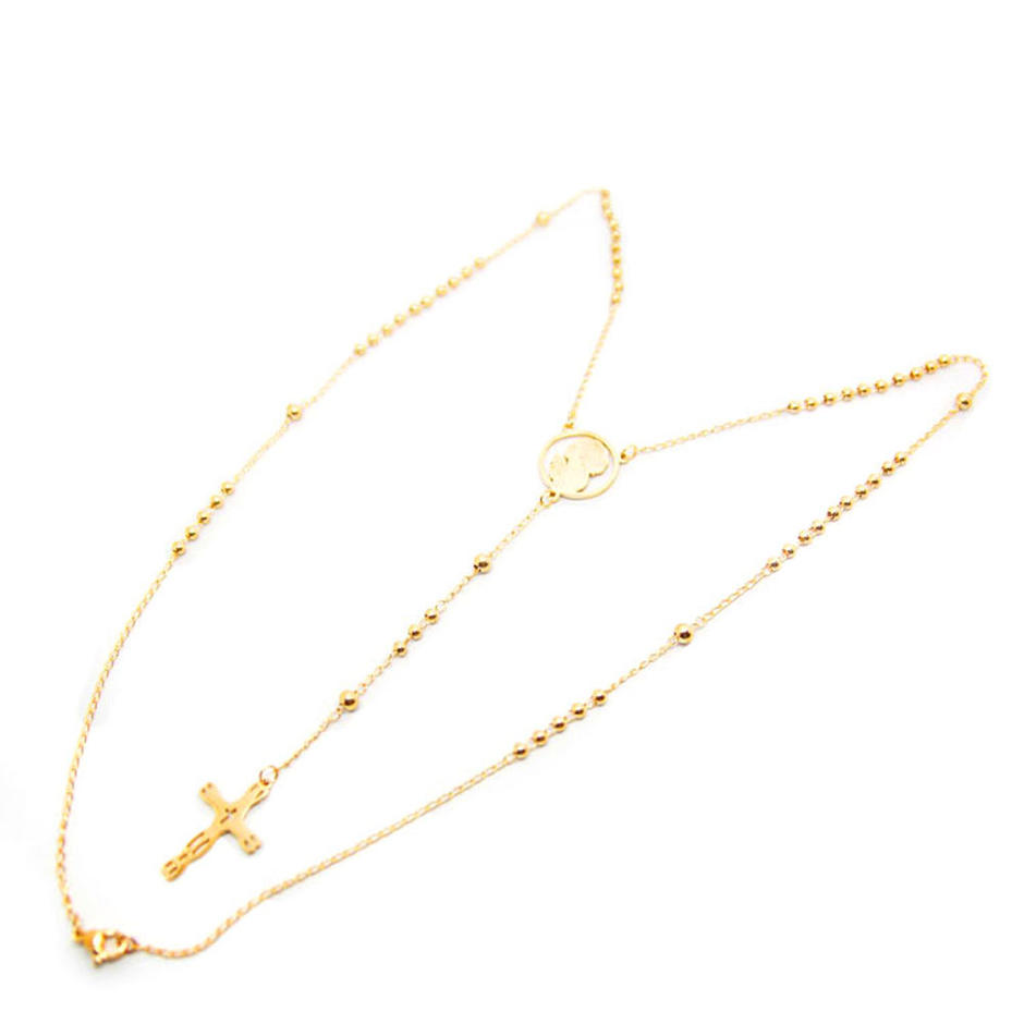 Gold Plated Cross Pendants Stainless Steel Ball Chain Necklaces