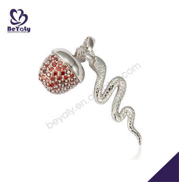 Red apple and snake chic quantum stainless steel pendant