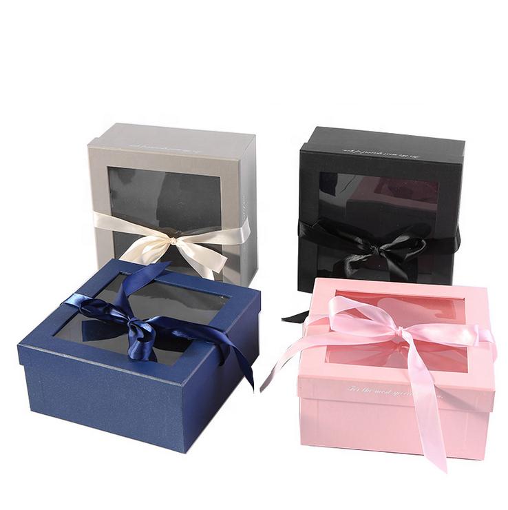 Wholesale Custom Logo Printed Luxury Packaging Apparel Box With PVC Window