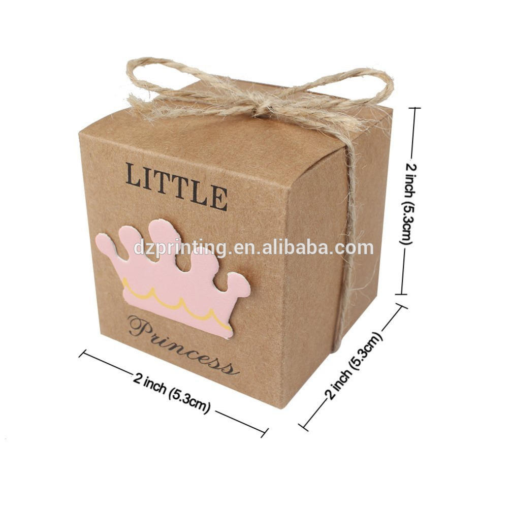 Small Square Brown Paper Gift Box Baby Shower Candy Box With Little Prince Princess Crown Design