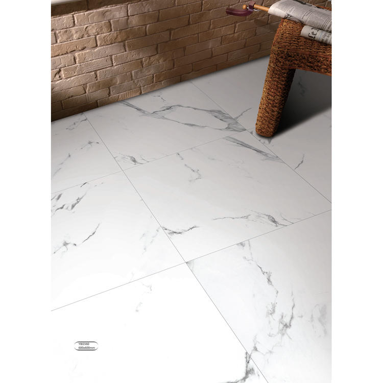 Super white shiny crystal ceramic floor tile