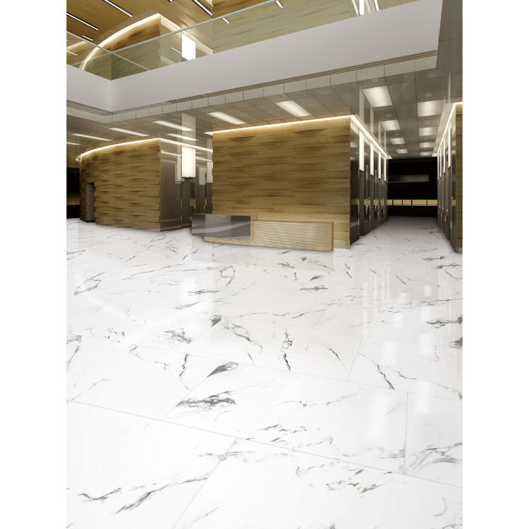 White high gloss ceramic floor tile