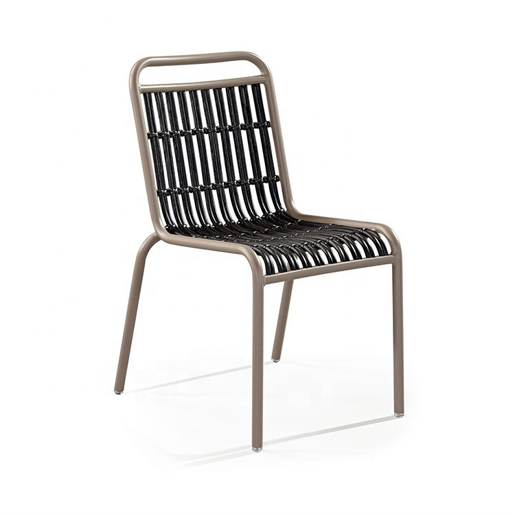 Outdoor French Woven Aluminum Bistro Chair Paris Riviera Cafe Chair