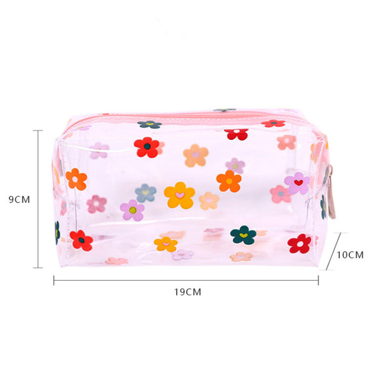 Girl Clear Cosmetic Bag PVC Transparent Makeup Bag for Women Waterproof Zipper Beauty Case Travel Toiletry Bags