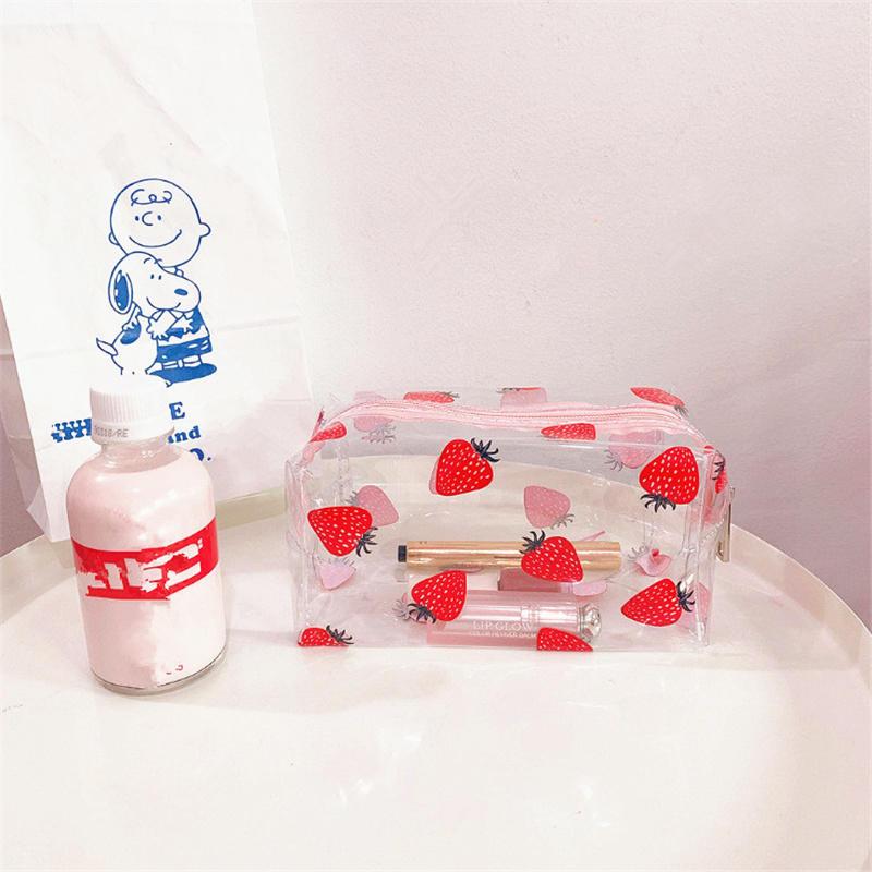 Girl Clear Cosmetic Bag PVC Transparent Makeup Bag for Women Waterproof Zipper Beauty Case Travel Toiletry Bags
