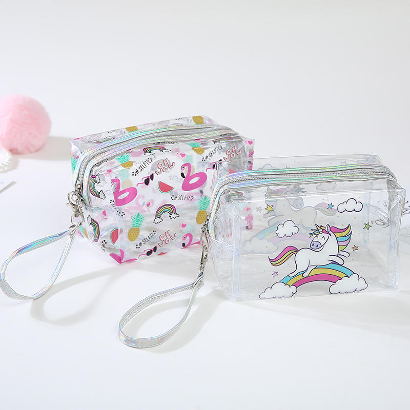 Transparent Cosmetics Bag PVC Travel Women Zipper Beauty Case Makeup Storage Bag cutePortable Waterproof Clear Toiletry Bags