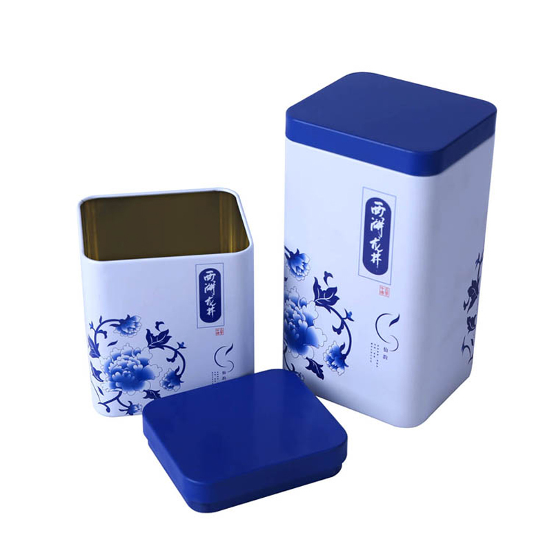 Square empty food safe metal canister tea tinunique tin can with colorful printing for tea packaging