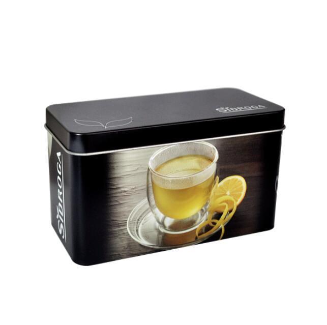 Bodenda food grade vintage metal case rectangular tea box metal customized printingtea caddy