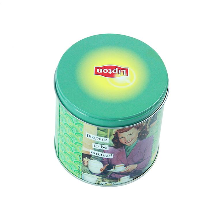 High Quality Round Tea Packaging Tin Box Metal Colorful Decorative Tea Coffee Box