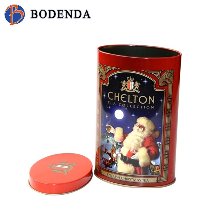 Luxury round metal tea tin box with customize print
