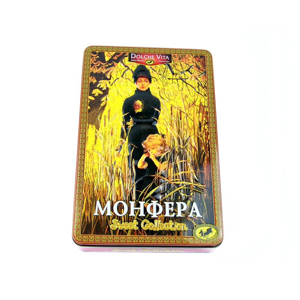 Bodenda rectangle big size metal tin can fancy chocolate tin box with hinge lid