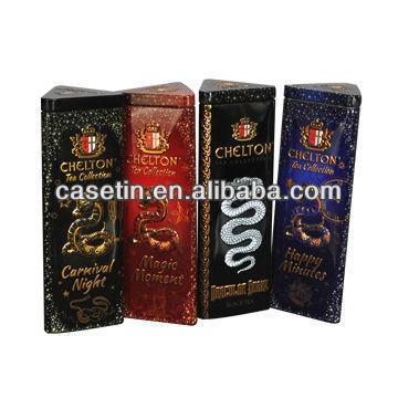 wholesale manufacture tall triangular shape tea tins