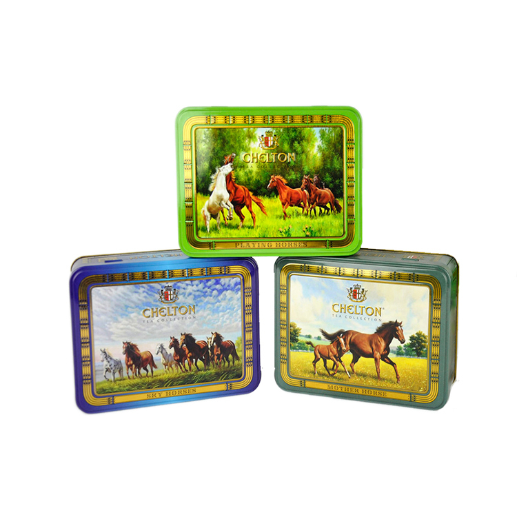 Wholesale rectangle customized printed metal tea tin food grade chocolate tin gift box with hinged