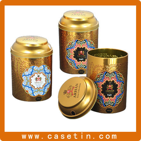 decorative metal round vintage tea canisters/caddy/tin cans with lids