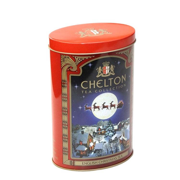 high quality oval shape tea tin box for russia