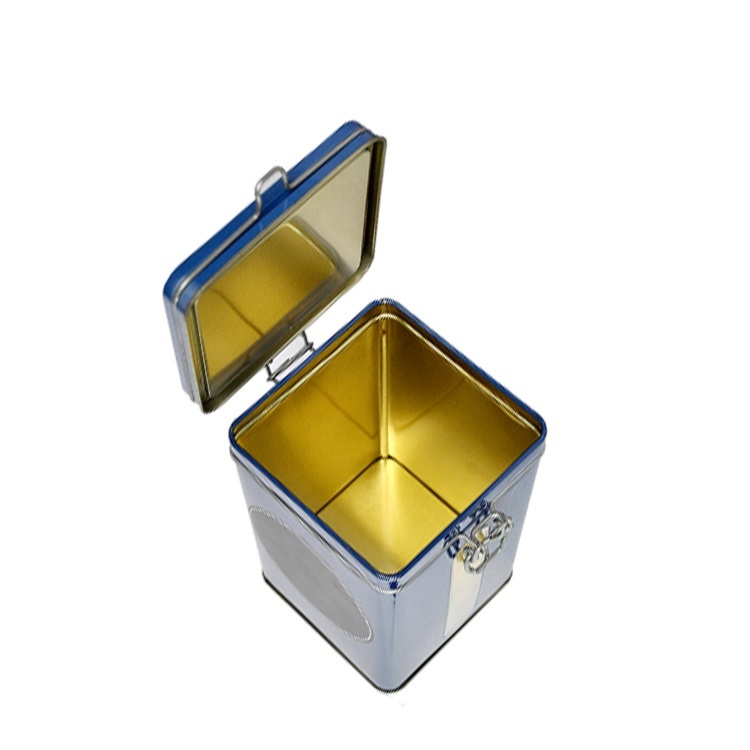 Customized Square Green Tea Tin Canister Metal Airtight Clip Lid Coffee Tin Box