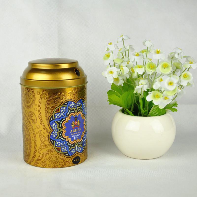 China made good quality and popular design of natural tin gold tea can