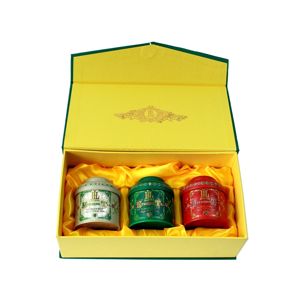 Factory supplier luxury tea gift set tin box coffee tin can with cardboard lid