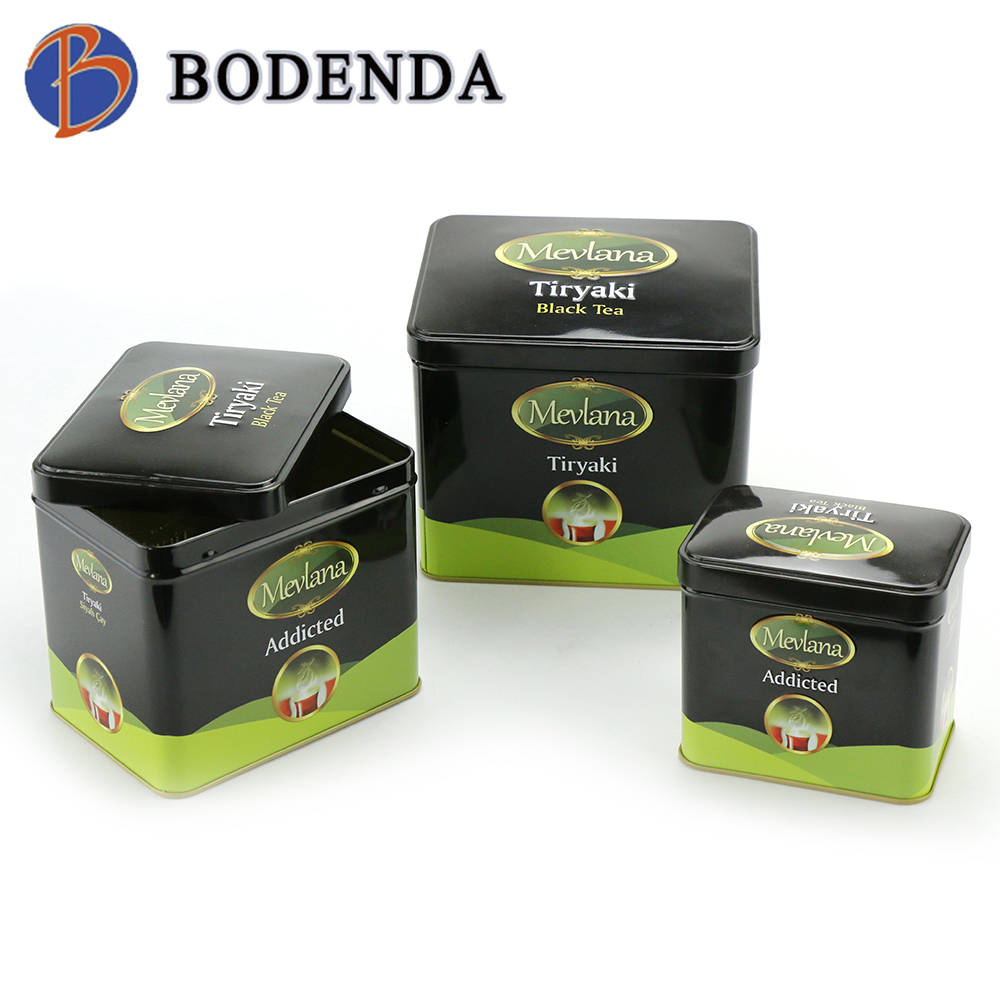 rectangular metal storage tin container