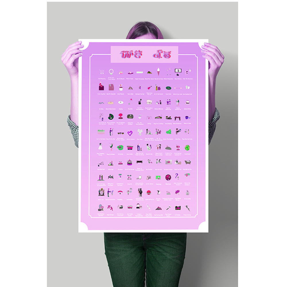 Customized purple big 100 things to do poster bucket list scratch poster with scratching tool