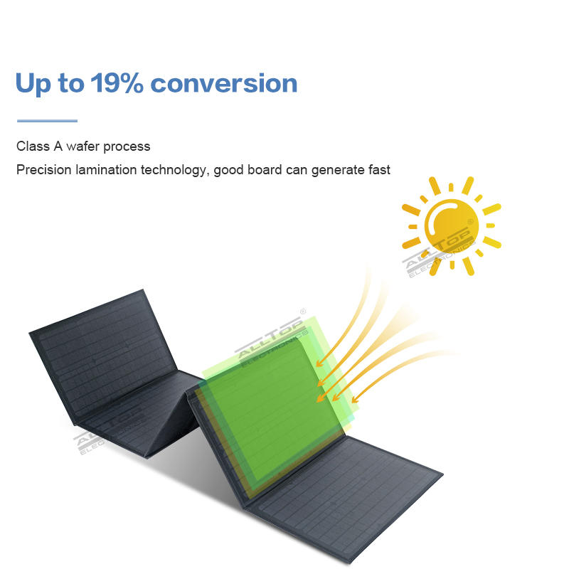 ALLTOP High efficient power generation waterproof sunscreen 60w folding solar panel with overoltage protection