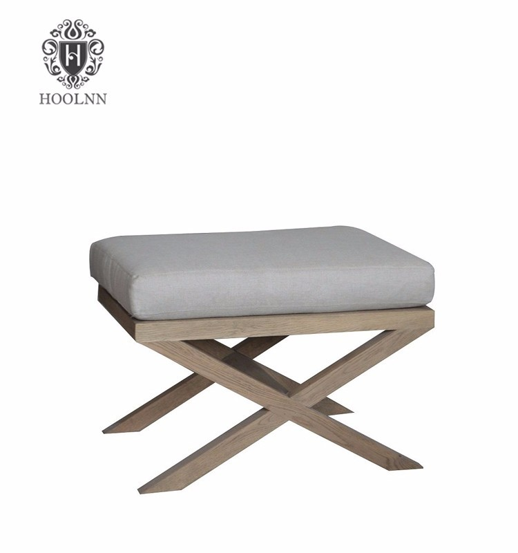 French Provincial Cross legs ottoman with linen cushion HL041